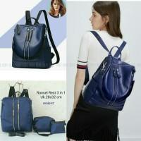 Tas Ransel Backpack Fashion Set 3pcs Double Zipper Keren 3in1 (DJ12)