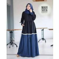 Maxi Dress Mostcrepe Sofia Navy