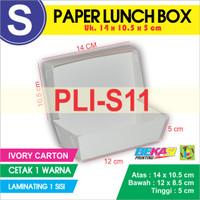 PLI-S11 Paper Lunch Box Ukuran S + Cetak 1 warna & Laminating 1 sisi