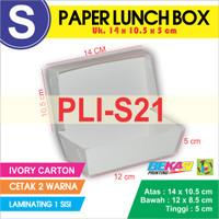 PLI-S21 Paper Lunch Box Ukuran S + Cetak 2 warna & Laminating 1 Sisi