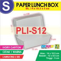 PLI-S12 Paper Lunch Box Ukuran S + Cetak 1 warna & Laminating 2 sisi