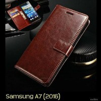 Samsung A7 (2016) Retro PU Leather Flip Wallet Case Cover Flipcase W