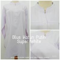 [Pre-Order] Blus Katun | Baju Atasan Wanita Lengan Panjang Super White