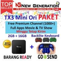 Paket Android Tv Box TANIX TX3 mini 2/16 + Mini Keyboard i8 backlight