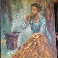 lukisan orang membatik