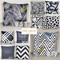 EMBIE CUSHION - Sarung Bantal Sofa / Cushion, 40x40 cm, Black & White