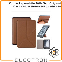 Kindle Paperwhite 10th Gen Origami Case Coklat Brown PU Leather 10