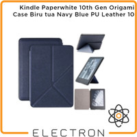 Kindle Paperwhite 10th Gen Origami Case Biru tua Navy Blue PU Leather