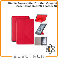 Kindle Paperwhite 10th Gen Origami Case Merah Red PU Leather 10