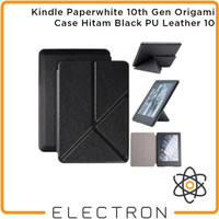 Kindle Paperwhite 10th Gen Origami Case Hitam Black PU Leather 10