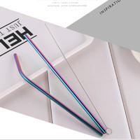 PAKET 3HEMAT SIKAT SEDOTAN RAINBOW Stainless Steel lurus + melengkung