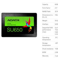 ADATA SSD SU650 120GB SATA III ( R/W Up to 520 / 450MB/s ) ASU650SS-