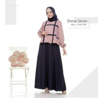 Dress Muslimah Katun Silk SHEVA Gamis Pesta Baju Menyusui Hamil