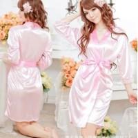 Lingerie Sexy Kimono Silk Robe Bathrobe + G String - Merah Muda