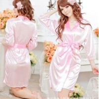 Baju tidur Sexy Murah Kimono Bathrobe Satin Kimono+Tali+Gstring - Pink