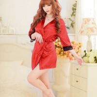 Lingerie Sexy Kimono Silk Robe Bathrobe + G String - Merah