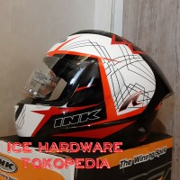 d454bd7a Helm Full Face INK CL Max #3 Stripe White Red Fluo Murah Original