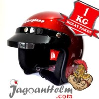 CARGLOSS Helm CF RETRO| Deep Red Metalic | Half Face CARGLOS ARMY
