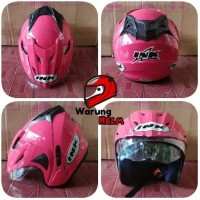 Helm Double Visor SNI Model INK T1/cx22 warna Hitam Pink Magenta