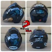 Helm Double Visor SNI Model INK T1/cx22 warna Hitam Metalik