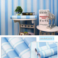 Wallpaper dinding 45cm x 10mtr   stripe blue minimalis