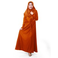AJ01 Muslimore Baju Muslim Wanita Gamis Murah Online Oren Polos