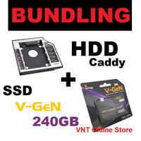 PAKET BUNDLING SSD 240GB SATA3 V-GEN + HDD Caddy 9.5mm / 12.7mm 240 GB