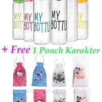 My Bottle bonus 1 Pouch Karakter Tas Botol Motif Hello Kitty Doraemon
