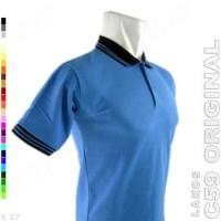 C59 Original K2-36 Baju Kaos Kerah Cowo Lakos Polos Biru Muda
