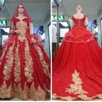 gaun merah gold kebaya pengantin nikah muslimah set kerudung