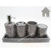 Tempat Sabun & Shampoo / Bath Tube Organizer Set - Marmer