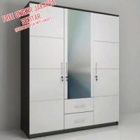 lemari pakaian 3 pintu minimalis putih