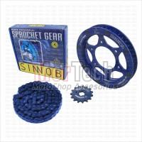 Sinnob Chain Kit Sprocket Gir Gear set Rantai YZF R15 New VVA V3 Biru