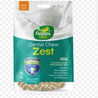 "happi doggy zest milk dental chew 2,5"" threat snack anjing isi 18pcs"