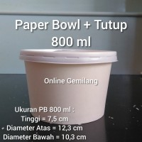 Paper Bowl / Mangkuk Kertas 800 ml / 27 oz Plus Tutup