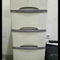 Harga best seller lemari pakaian murah lemari plastik motif rotan putih | Pembandingharga.com