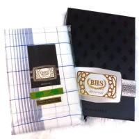 Sarung Dewasa Sarung Tenun BHS Putih Mercerized Motif Kotak Original