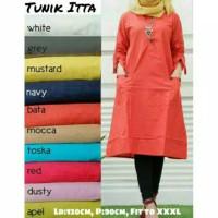 TUNIK ITTA POCKET Pakaian Atasan Wanita Muslim Blouse Zahra Stores