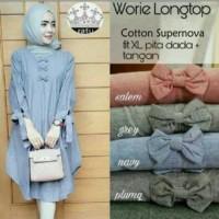 Worie longtop baju atasaan wanita tunik muslimah blus Zahra Stores