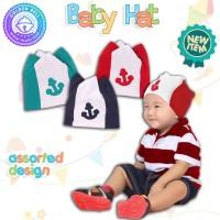 Topi Bayi Motif Jangkar Bordir / Baby Hat Boy