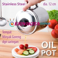 OIL POT STAINLESS WITH STRAINER - Mug Penampung Minyak Goreng 1.1 L
