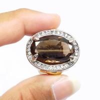 Cincin Batu Natural Kecubung Teh / Solar / Smoky Quartz Jumbo