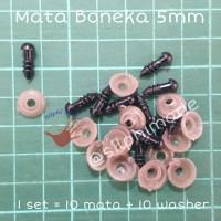 Mata Boneka 5 mm dengan Washer (Mata Amigurumi / Safety Eyes)