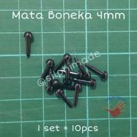 Mata Boneka 4 mm Hitam (Mata Amigurumi / Safety Eyes / Doll Eyes)