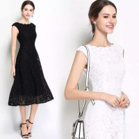 0519033 DRESS BRUKAT SCALLOP 8263,midi dress - Putih, M