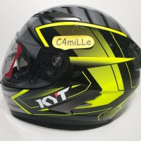 HELM KYT FALCON 2 ARMOUR BLACK YELLOW FLUO DOUBLE VISOR FULL FACE