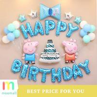 Paket Balon Foil Happy Birthday baby anak Dekorasi Pig Peiqi
