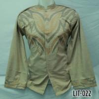 Grosir Baju Koko Muslim Pria Dewasa Lengan Panjang Coklat Muda LIT 022