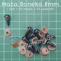 Mata Boneka 8 mm Hitam (mata amigurumi / safety eyes)