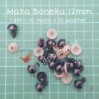 Mata Boneka 12mm Warna Hitam (Mata Amigurumi / Safety Eyes)